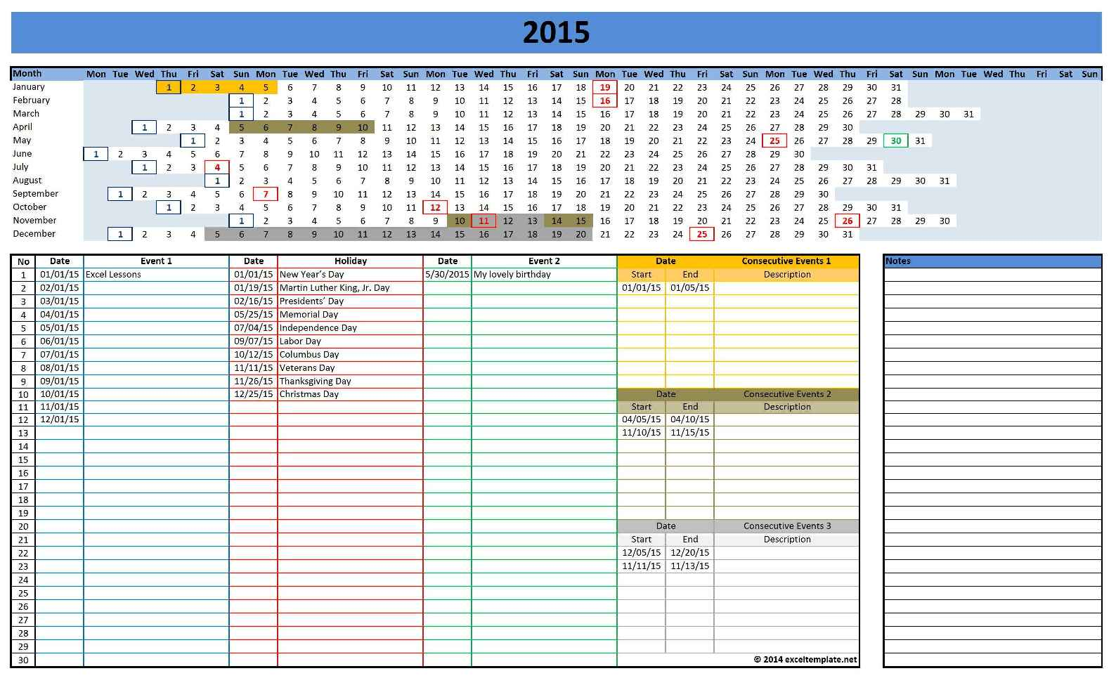 Office Calendar templates