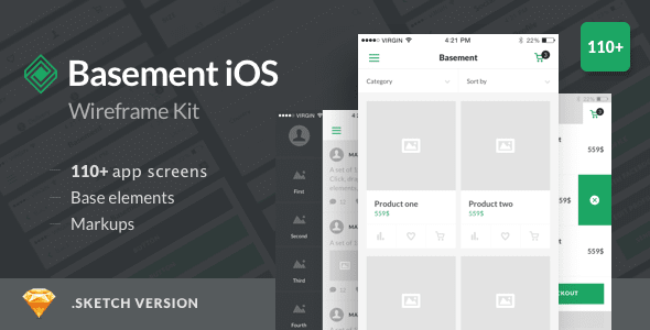Basement iOS Wireframe Kit Templates